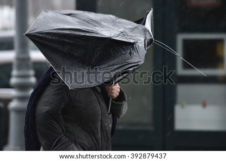 People walking on the street with their open umbrellas on a stormy day