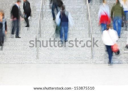 People Walking Up Stairs, Motion Blur - stock photo
