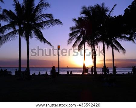 People watch dramatic sunset as it lowers towards the ocean shining through Coconut trees on Waikiki Beach on Oahu, Hawaii. - stock photo