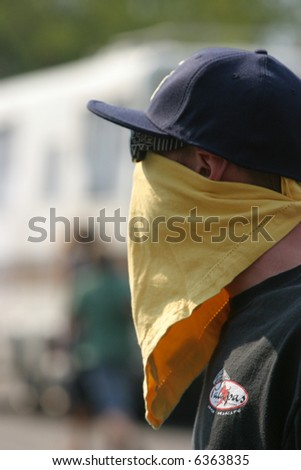 People wear bananas and face masks to protect themselves from the noxious thick black curling smoke from the california wild fires