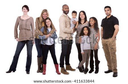 people wearing casual outfits on white background - stock photo
