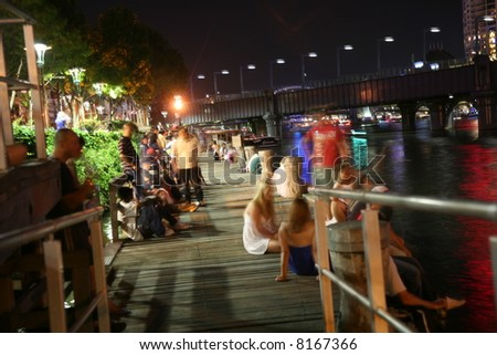 people whiting fire-work and new-year celebration on yarra river Melbourne