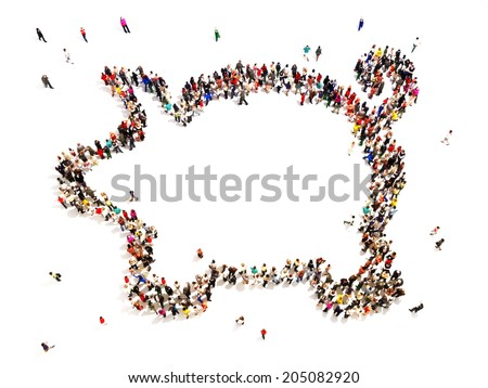 People who like to save or invest. Large group of people in the shape of a piggy bank on a white back ground with room for text or copy space. - stock photo