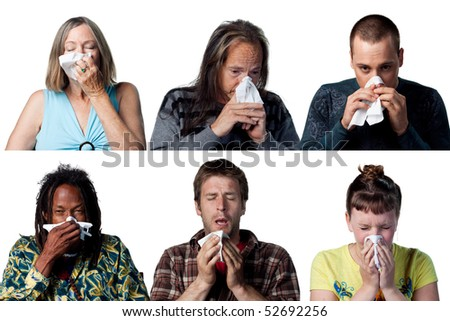 People with allergies or a cold sneezing