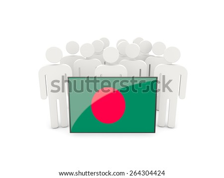 People with flag of bangladesh isolated on white - stock photo