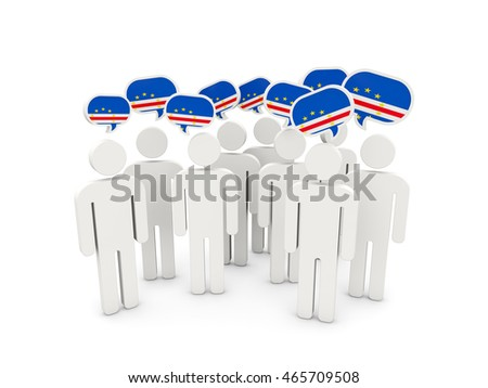 People with flag of cape verde isolated on white. 3D illustration