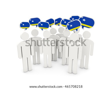 People with flag of curacao isolated on white. 3D illustration