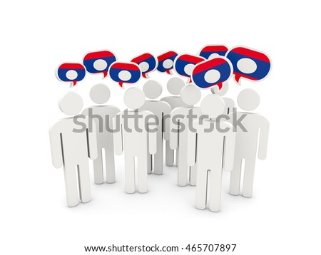 People with flag of laos isolated on white. 3D illustration