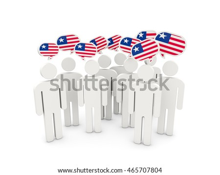 People with flag of liberia isolated on white. 3D illustration
