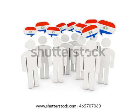 People with flag of paraguay isolated on white. 3D illustration