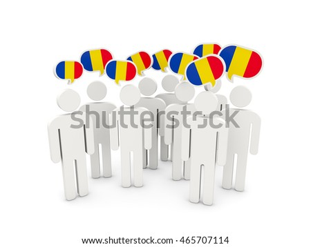 People with flag of romania isolated on white. 3D illustration