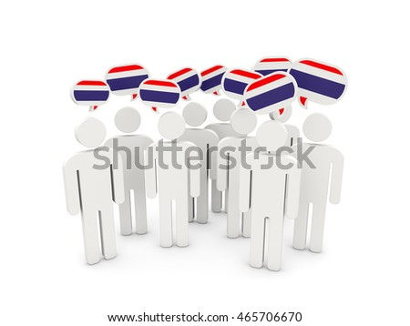 People with flag of thailand isolated on white. 3D illustration
