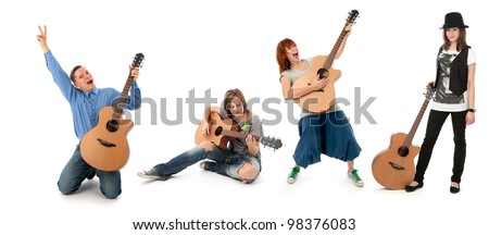 people with guitars isolated on white background