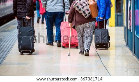 People with luggage - stock photo