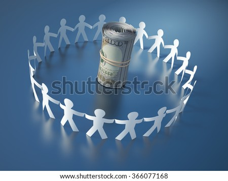 People with Money Roll - Community Concept - High Quality 3D Render  - stock photo