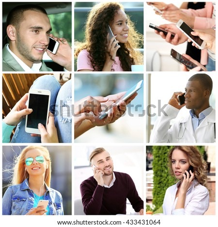 People with smapt phones, mobile technology concept - stock photo