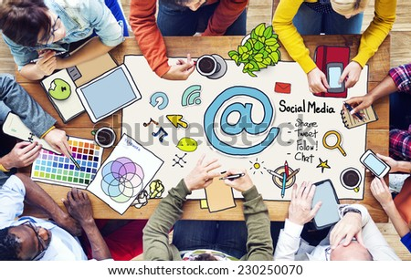 People with Social Media Concept and Photo Illustrations - stock photo