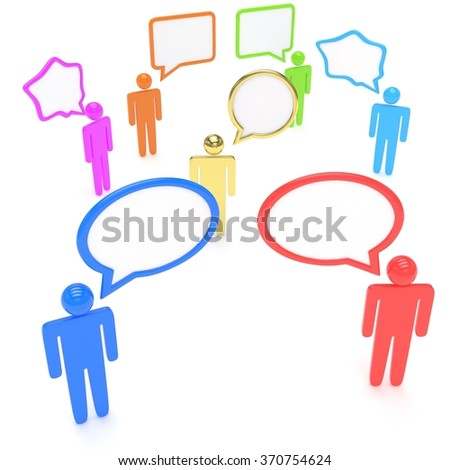 people with talk bubbles isolated over a white background