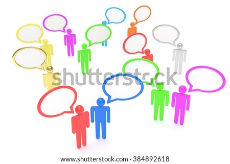 people with talk bubbles isolated over a white background - stock photo