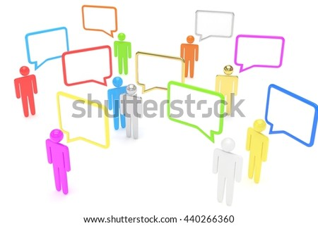 people with talk bubbles isolated over a white background. 3d rendering. - stock photo