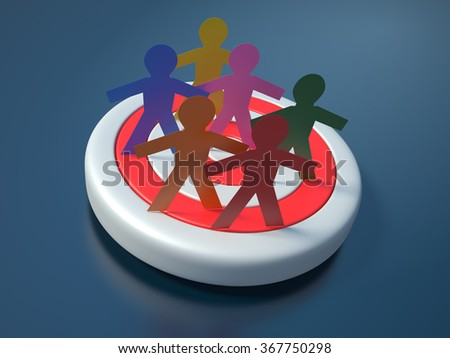 People with Target - Community Concept - High Quality 3D Render  - stock photo