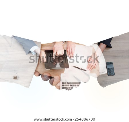 people working at meeting in office, partnership concept - stock photo