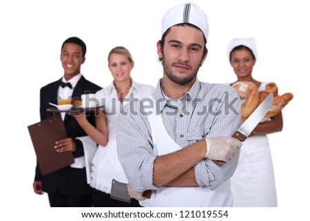 People working in the service sector - stock photo