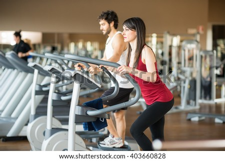 People working out in a fitness center
