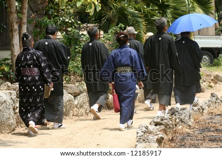 People Worship in Temple -Taketomi Island , Okinawa, Japan