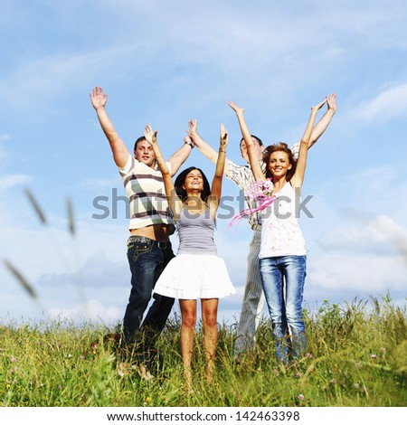 peoples fun in the sky - stock photo
