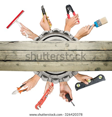 Peoples hands holding tools on isolated white background - stock photo