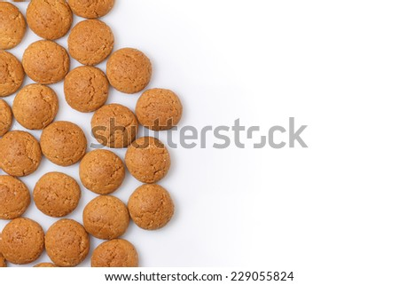Pepernoten design left room for text, copy space. Dutch treat for Sinterklaas holiday, event 5 December. White background. - stock photo