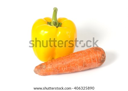 pepper and carrots on a white background