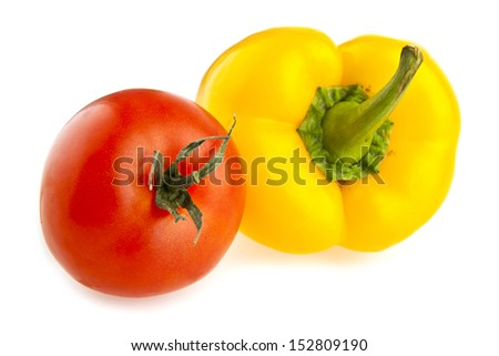 pepper and tomato on a white background