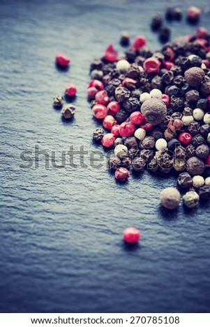 pepper on wooden background/ mixture of peppers hot pepper, red pepper, black pepper, white pepper, green pepper, background - stock photo