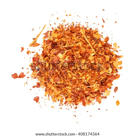 pepper paprika dry isolated on white background clipping path - stock photo