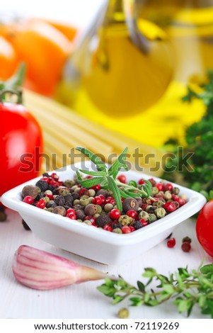 pepper, rosemary, garlic and olive oil -Italian food and ingredients - stock photo