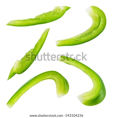 Pepper Slice Green Paprika Isolated Clipping Stock Photo ...