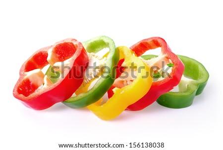 pepper sliced on white background - stock photo
