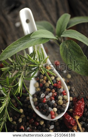 Peppercons in spoon on a wooden table - stock photo