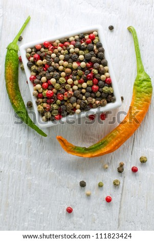 Peppercorn mix on a vintage wooden table