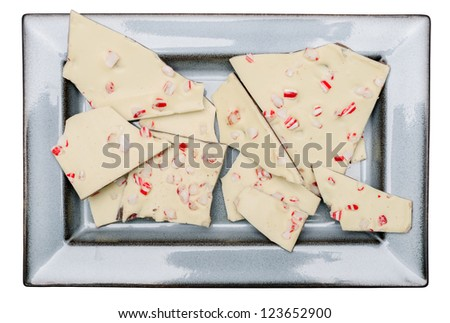 Peppermint Bark treat on a plate - stock photo