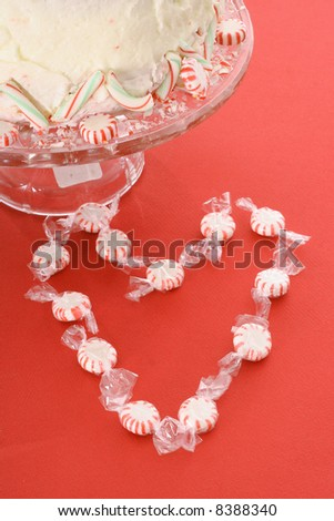 peppermint heart with cake - stock photo