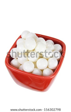 Peppermint in Bowl on White Background - stock photo