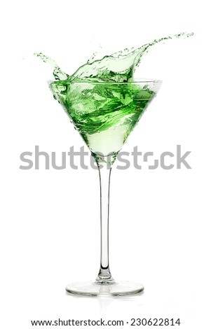 Peppermint schnapps with big splash. Cocktail isolated on white background. Mint liqueur. splashes