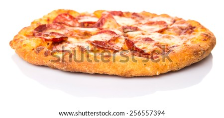 Pepperoni and cheese pizza over white background - stock photo