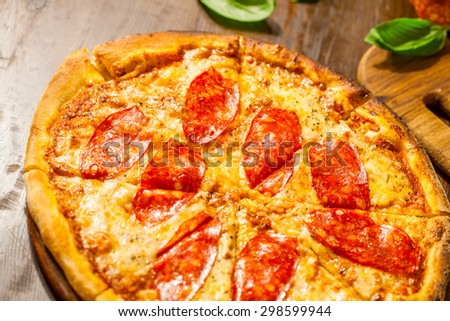 Pepperoni pizza - stock photo