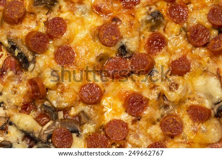 Pepperoni pizza background