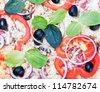 pepperoni pizza background with vegetables - stock photo