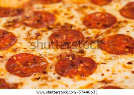 Pepperoni pizza close-up - stock photo